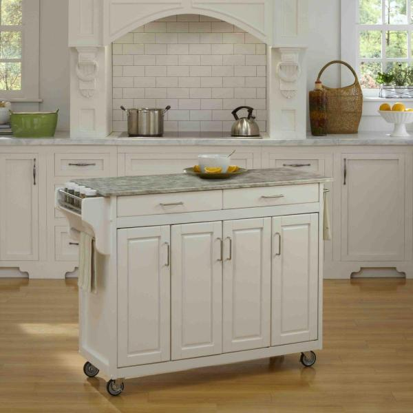 Home Styles Create-a-Cart White Kitchen Cart With Concrete Top 9200-1211