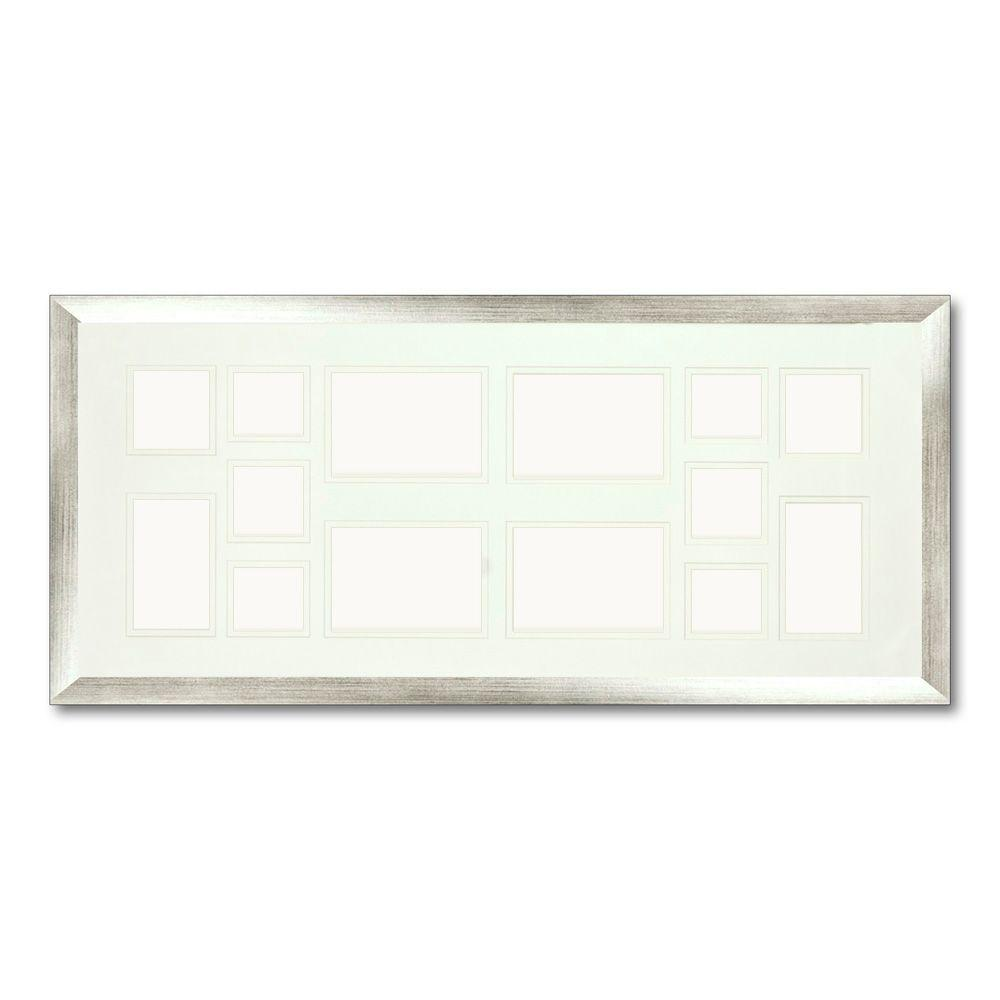 PTM Images 14-Opening Holds Multiple Photos Matted Silver Photo Collage Frame (Set of 2)