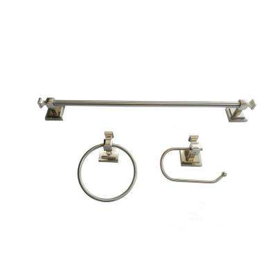 3-Piece Bath Hardware Set Double Square Style in Brushed Nickel