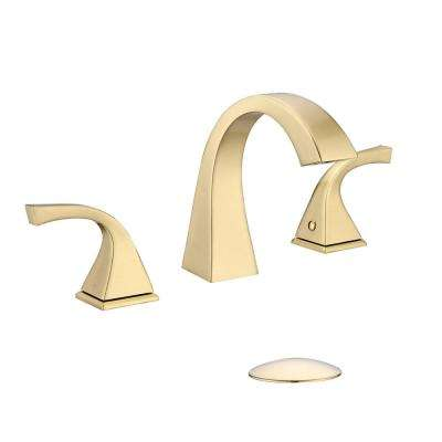 8 in. Widespread Three Hole 2-Handle Bathroom Faucet with pop-up drain in Brass