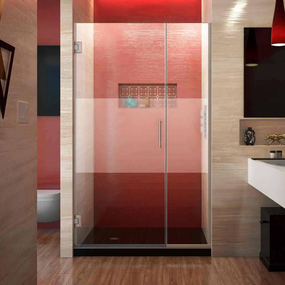 DreamLine Unidoor Plus 38 to 38-1/2 in. x 72 in. Frameless Hinged Shower Door with Half Frosted Glass in Brushed Nickel