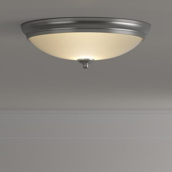 Commercial Electric-13 in. 60-Watt Equivalent Brushed Nickel Integrated LED Flush Mount with White Glass Shade