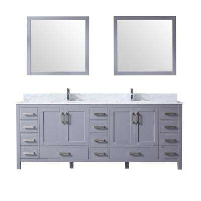 Jacques 84 in. Double Bath Vanity in Dark Grey w/ White Carrera Marble Top w/ White Square Sinks and 34 in. Mirrors
