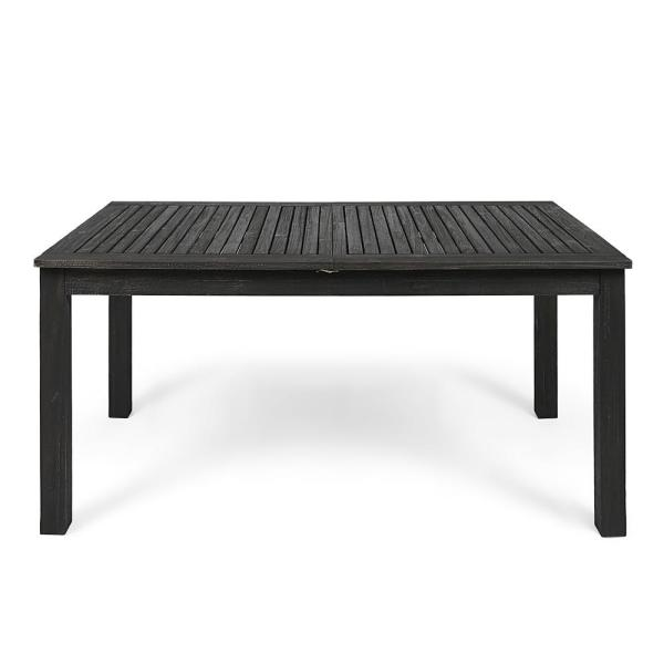 Noble House Nestor Dark Gray Rectangular Wood Expandable Outdoor Dining Table 42940 The Home Depot