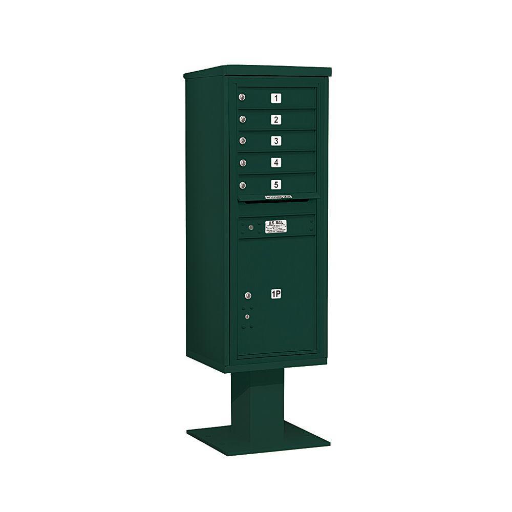 3400 Series 63-1/4 in. 13 Door High Unit Green 4C Pedestal Mailbox with 5 MB1 Doors/1 PL6