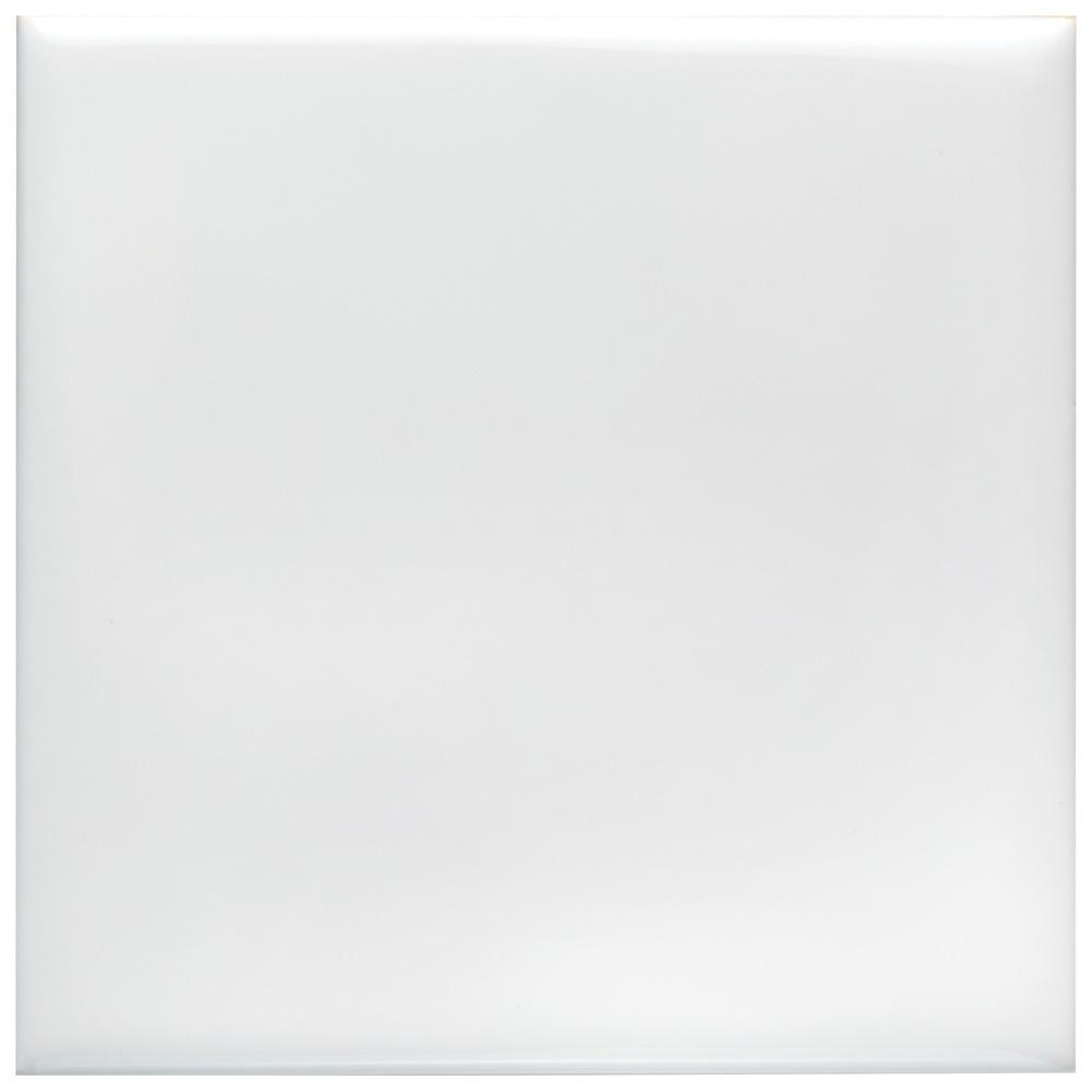 Merola Tile Twist Square White Ice 3-3/4 in. x 3-3/4 in. Ceramic Wall Tile