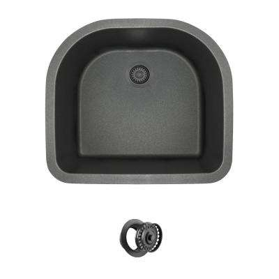 All-in-One Undermount Granite Composite 24.75 in. 0-Hole Single Bowl Kitchen Sink in Black