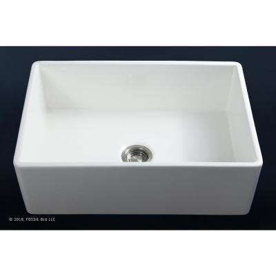 Luxury 30 inch Ultra Fine Fireclay Modern Farmhouse Kitchen Sink in White, Single Bowl with Flat Front, Includes Drain