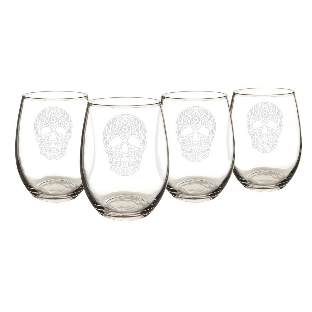 Sugar Skull 21 oz. Stemless Wine Glasses