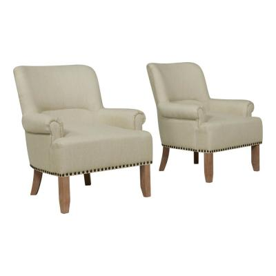 Craig Performance Tan Rolled Arm Chairs (Set of 2)