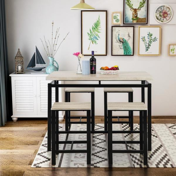Genial Beige 5 Piece Dining Set Wood And Metal Pub Table With 4 Bar Stools