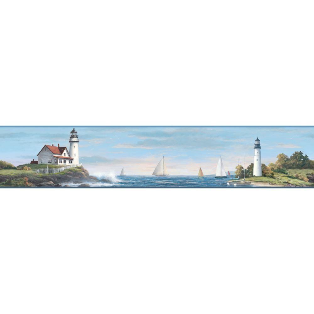 Nautical Living Sailing Lighthouse Wallpaper Border