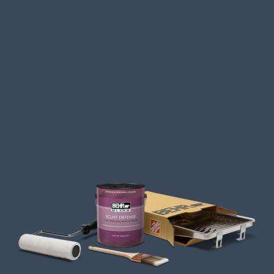1 gal. #M500-7 Very Navy Extra Durable Eggshell Enamel Interior Paint and 5-Piece Wooster Set All-in-One Project Kit