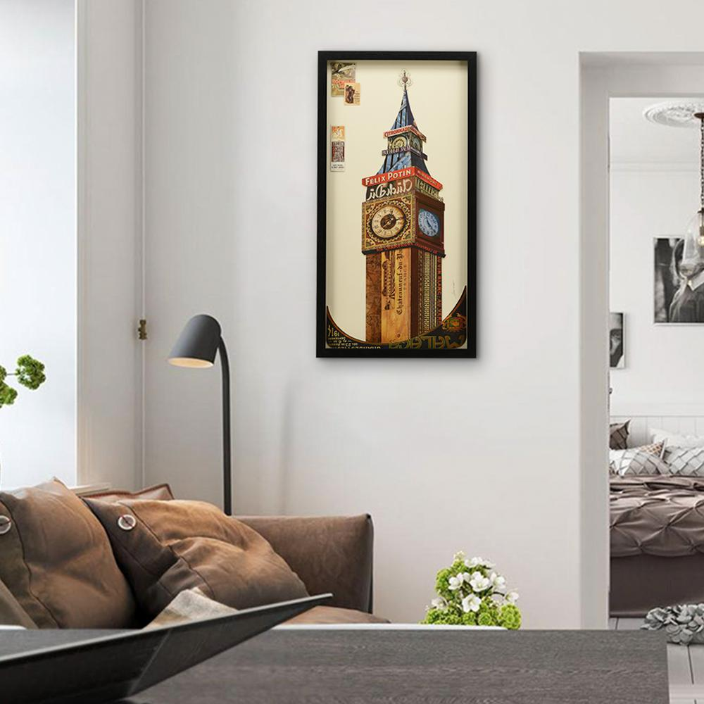 33 in x 17 in big ben dimensional collage framed graphic art