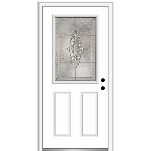 Mmi Door 36 In X 80 In Heirlooms Left Hand Inswing 1 2 Lite Decorative 2 Panel Painted Steel Prehung Front Door Z004115l The Home Depot