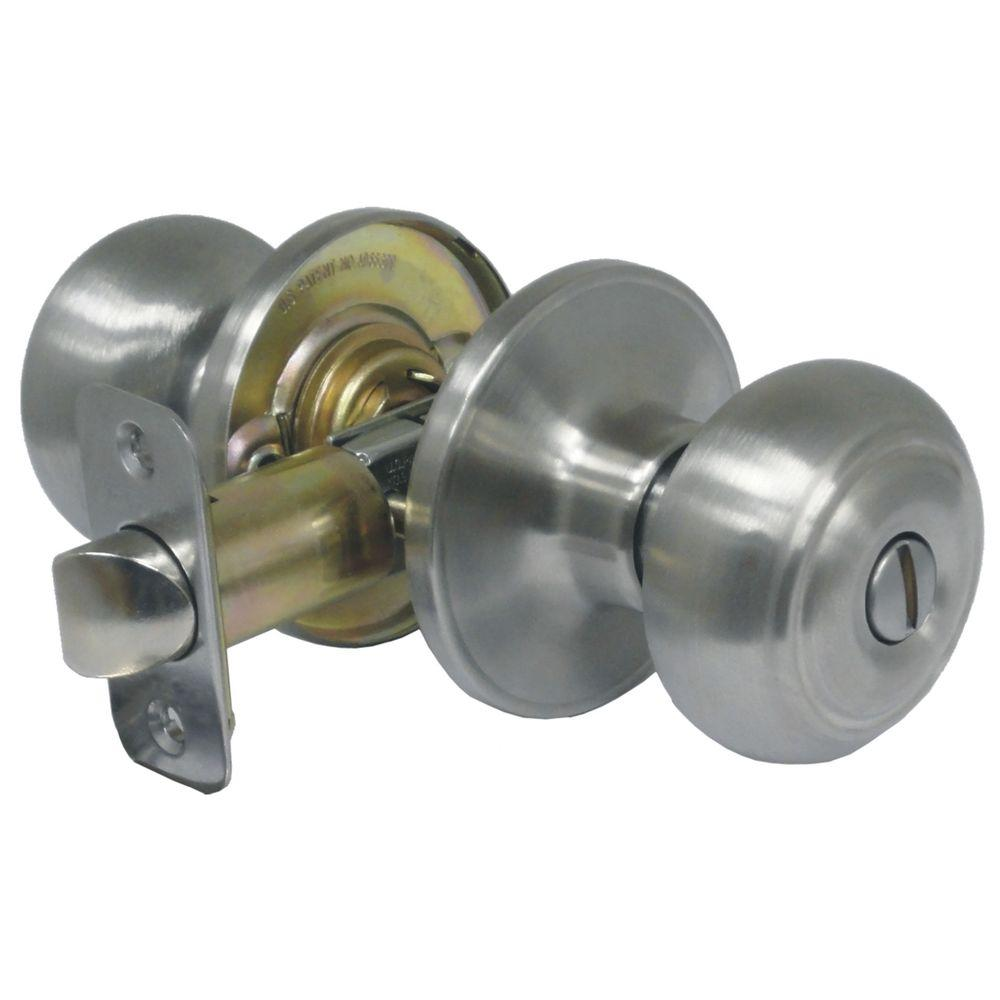 Faultless Fancy Mushroom Stainless Steel Privacy Bed/Bath Door Knob
