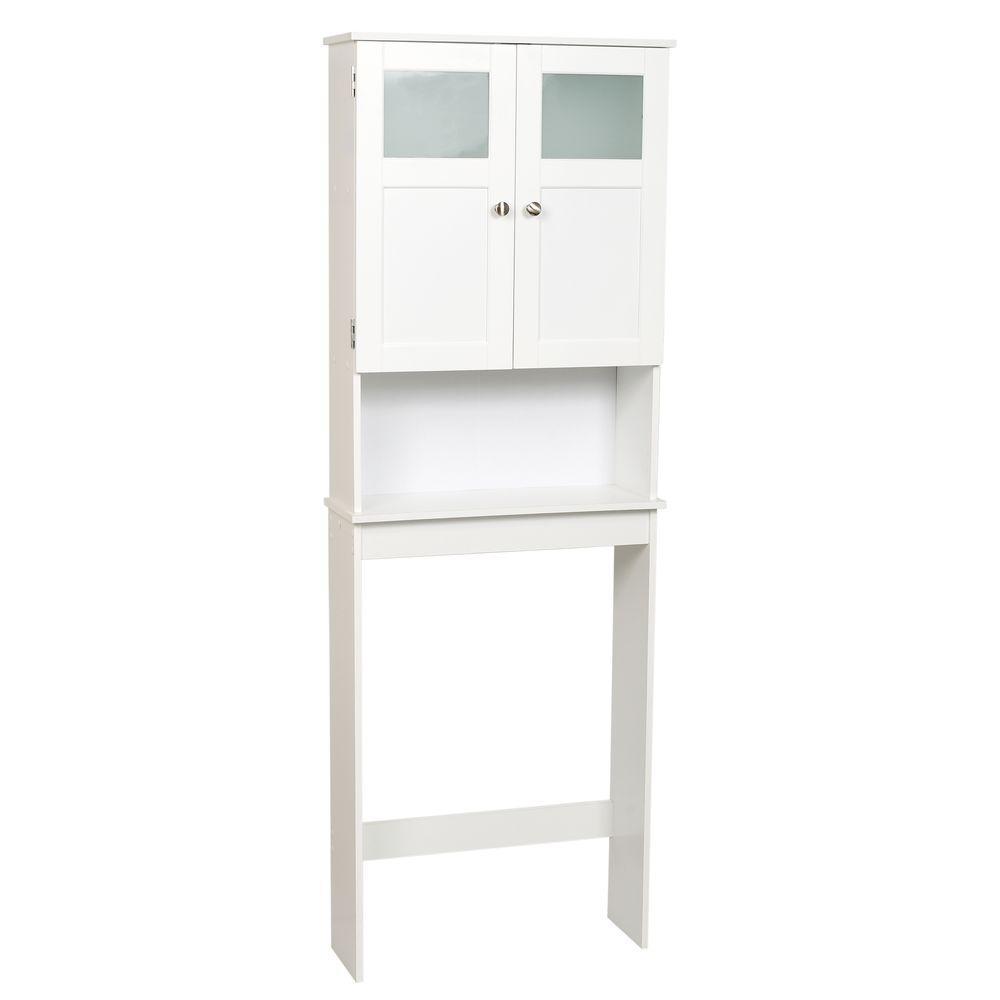 23-1/4 in. W x 66-1/2 in. H x 8-1/4 in. D 2-Door Over-the-Toilet Spacesaver Storage Cabinet with Glass Doors in White