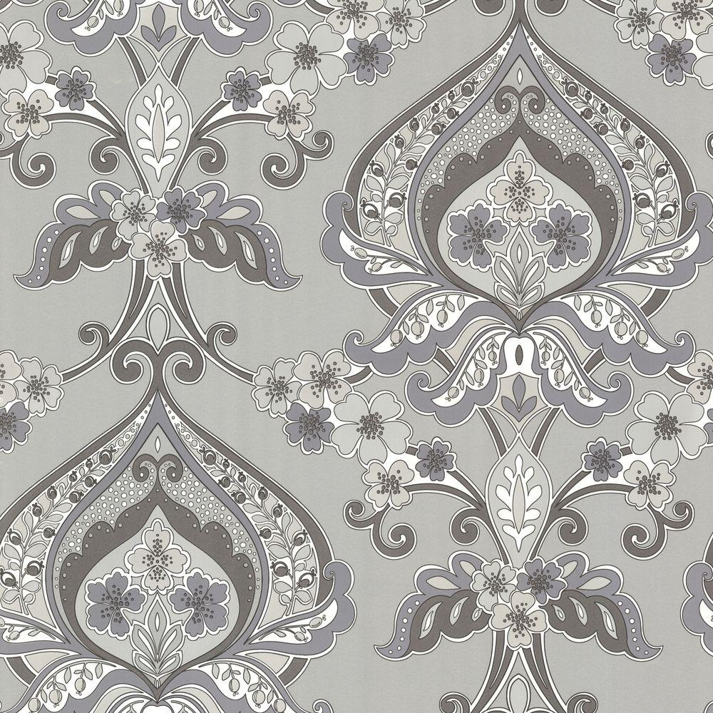 Beacon House Ashbury Grey Paisley Damask Wallpaper
