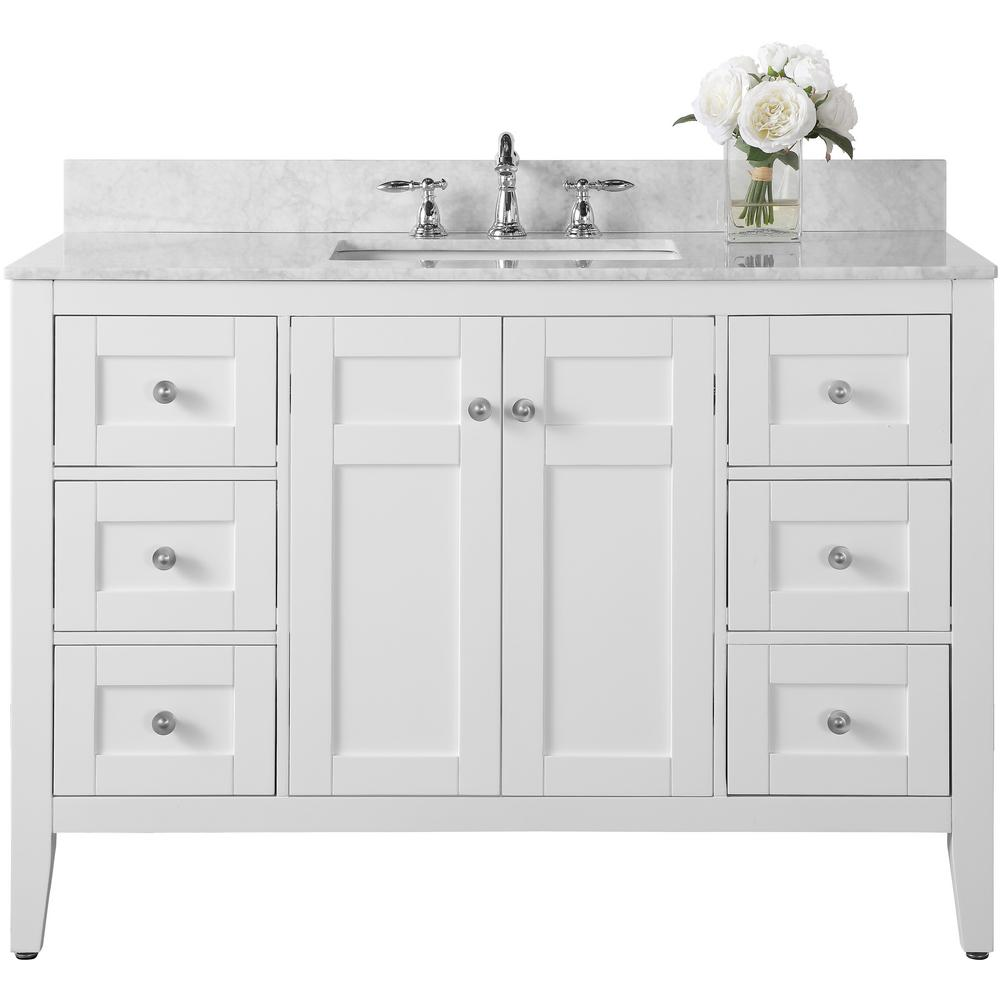 Ancerre Designs Maili 48 in. W x 22 in. D Vanity in White with Marble Vanity Top in Carrara White with White Basin