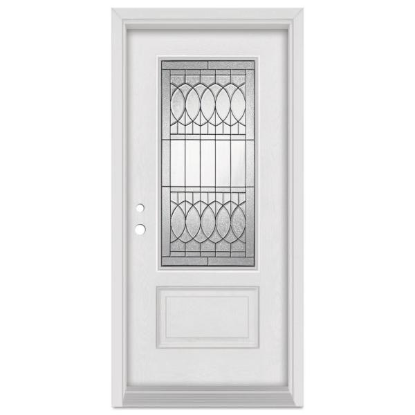 36 in. x 80 in. Nightingale Right-Hand Patina Finished Fiberglass Mahogany Woodgrain Prehung Front Door