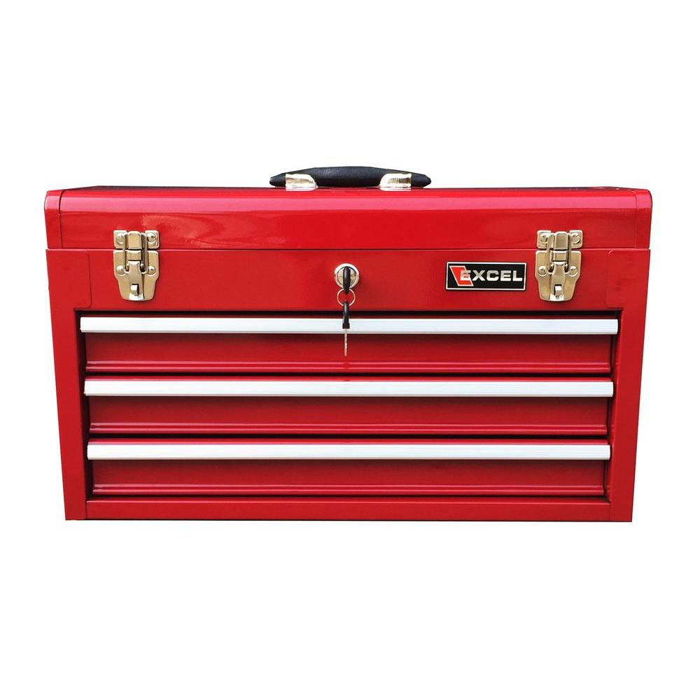 Excel 20.5 in. W x 8.6 in. D x 11.8 in. H Portable Steel Tool Box, Red