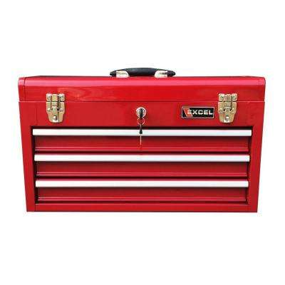 20.5 in. W x 8.6 in. D x 11.8 in. H Portable Steel Tool Box, Red