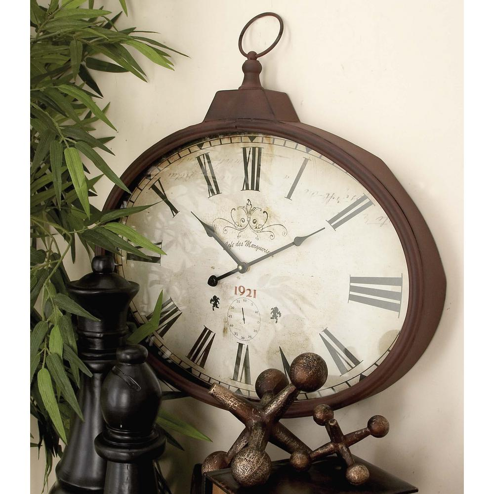 20 in. x 28 in. French-Inspired Vintage 1920's Oval Wall Clock