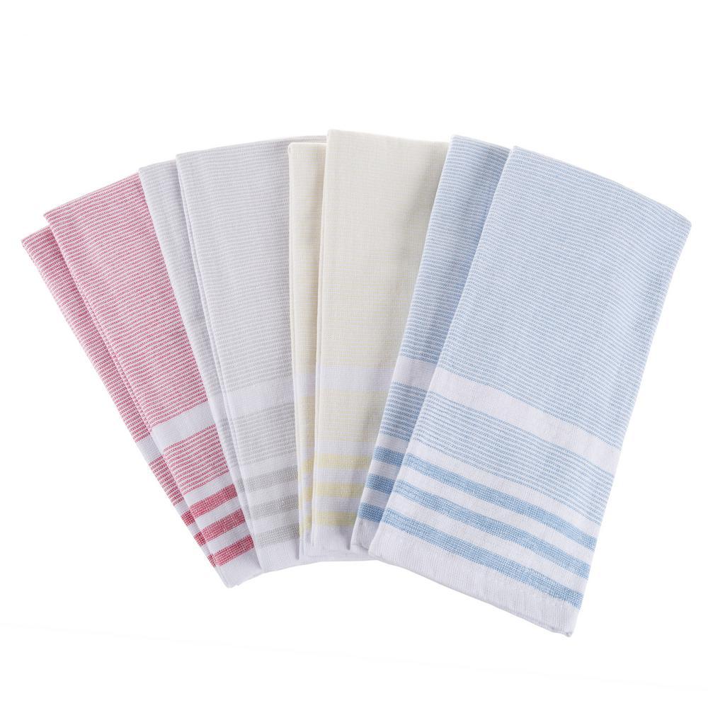 Multi-Color Farmhouse Stripe Weave Cotton Kitchen Towel Set (8-Pieces)