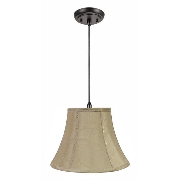 1-Light Oil Rubbed Bronze Pendant with Oatmeal Bell Fabric Shade