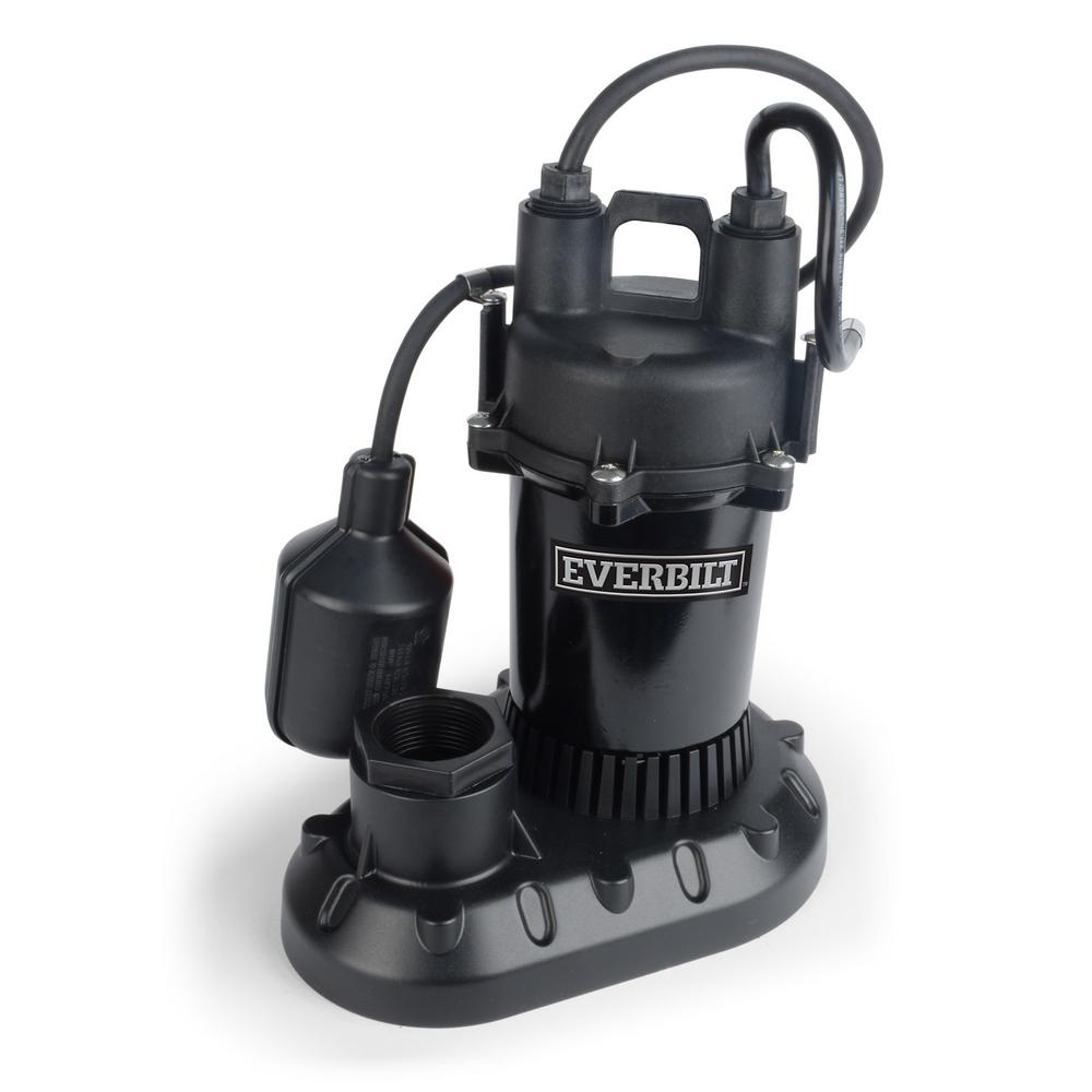Everbilt 1/4 HP Aluminum Sump Pump with Tethered Switch