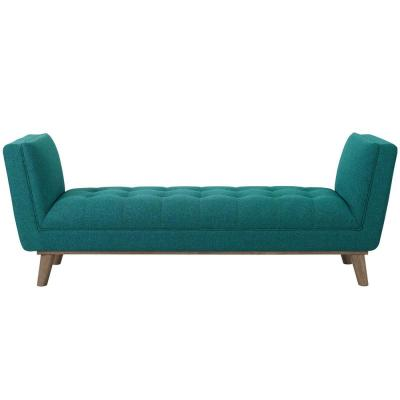 Haven Teal Tufted Button Upholstered Fabric Accent Bench