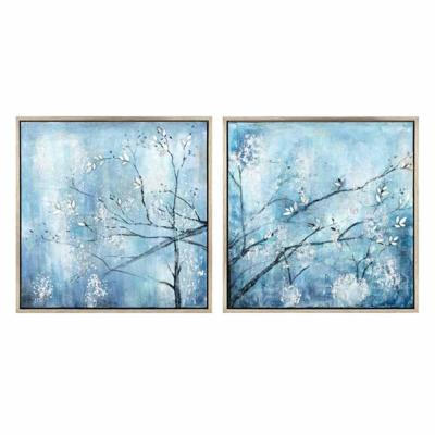 Blue Wall Art Winterset Framed Oil Painting (Set of 2)