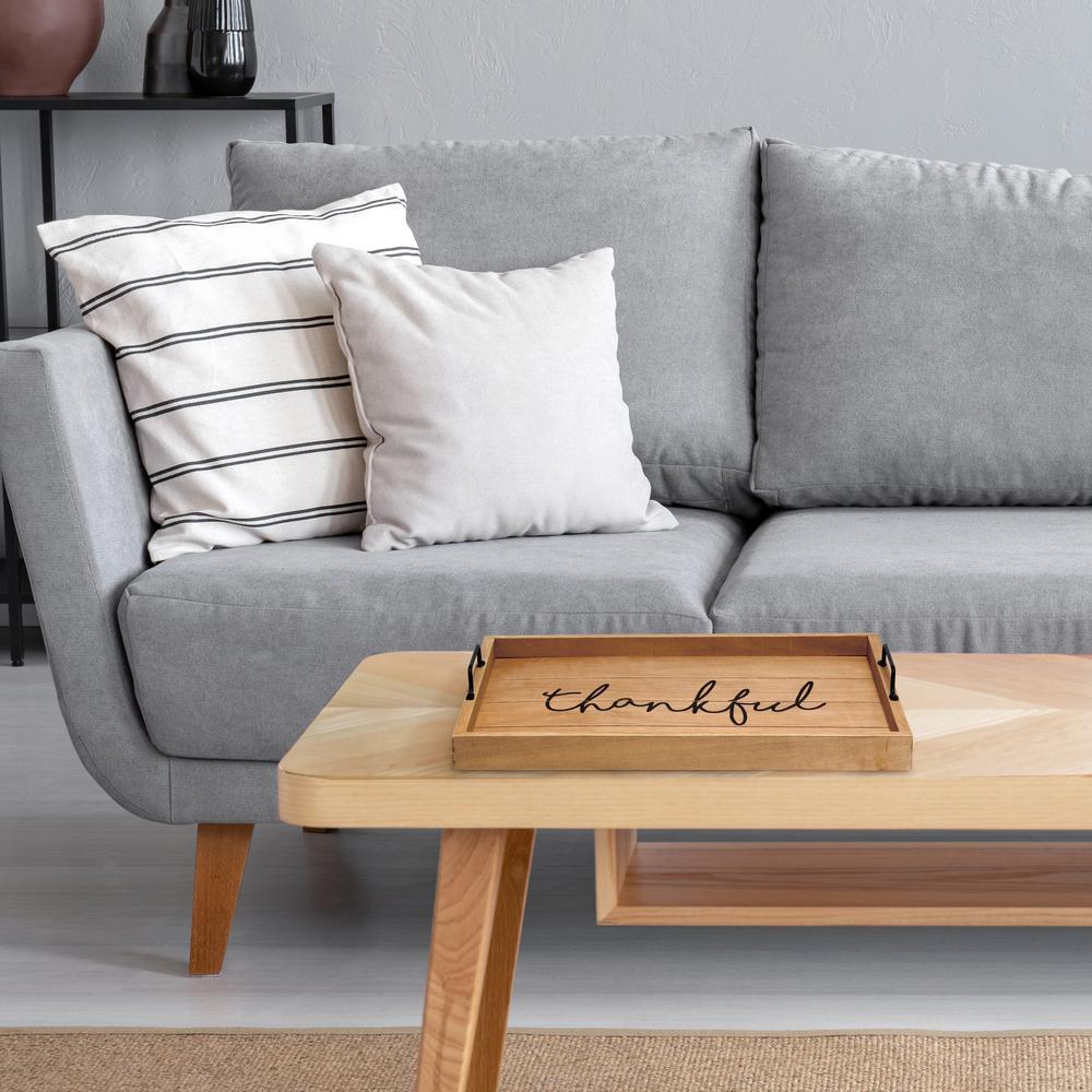 """Thankful"" Natural Wood Decorative Wood Serving Tray"