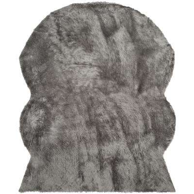 Faux Sheep Skin Gray 8 ft. x 10 ft. Area Rug