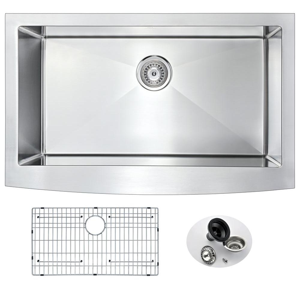 ANZZI ELYSIAN Series Farmhouse Stainless Steel 32 in. 0-Hole Single Bowl Kitchen Sink