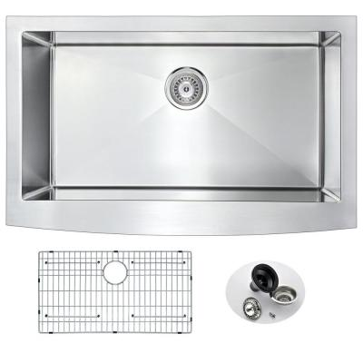 ELYSIAN Series Farmhouse Stainless Steel 32 in. 0-Hole Single Bowl Kitchen Sink