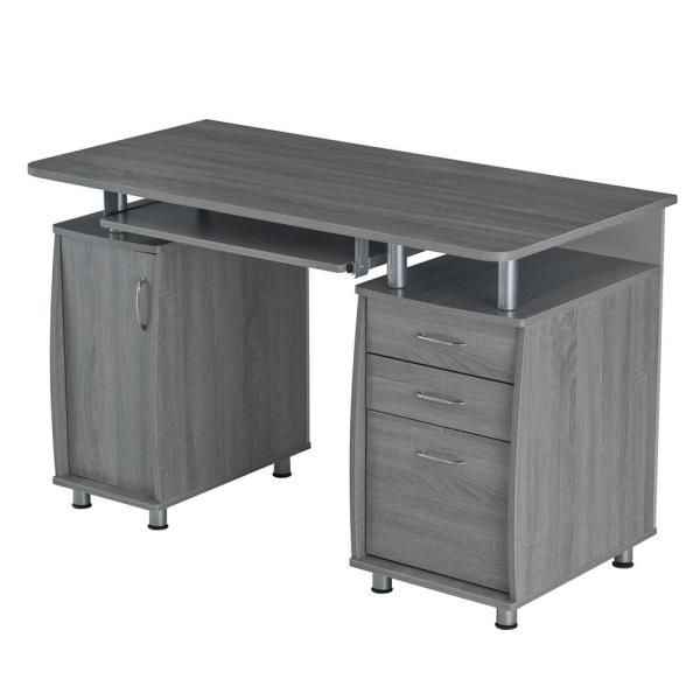 Techni Mobili Grey Complete Workstation Computer Desk With