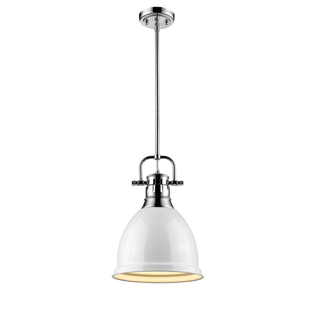 Duncan 1-Light Chrome 8.8 in. Pendant with White Shade