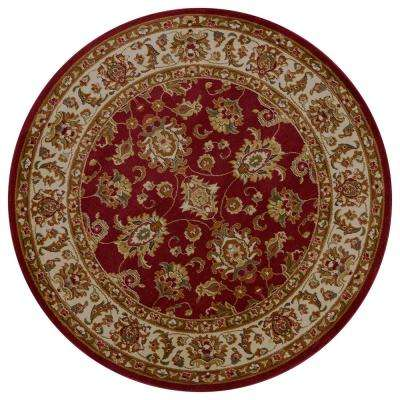 Lifestyles Red/Ivory Kashan 8 ft. x. 8 ft. Round Area Rug