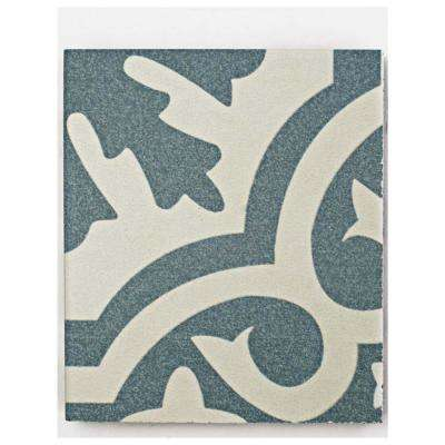 Berkeley Blue Encaustic Ceramic Floor and Wall Tile - 3 in. x 4 in. Tile Sample