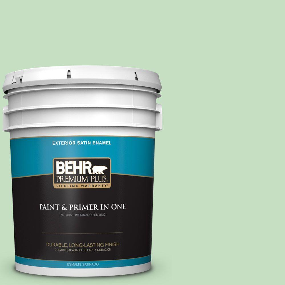 BEHR Premium Plus 5-gal. #450C-3 Green Myth Satin Enamel Exterior Paint