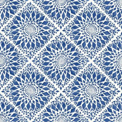 56.4 sq. ft. Maureen Blue Medallion Strippable Wallpaper