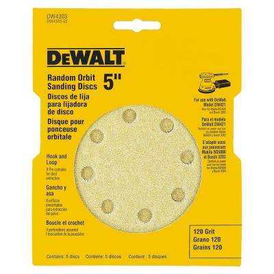 5 in. 8-Hole 120-Grit H and L Random Orbit Sandpaper (5-Pack)