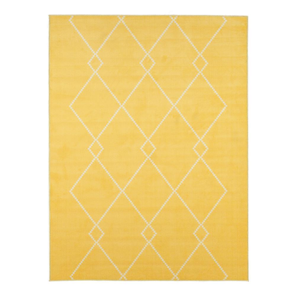 Studio Collection Yellow 8 ft. X 10 ft. Trellis Design Area Rug