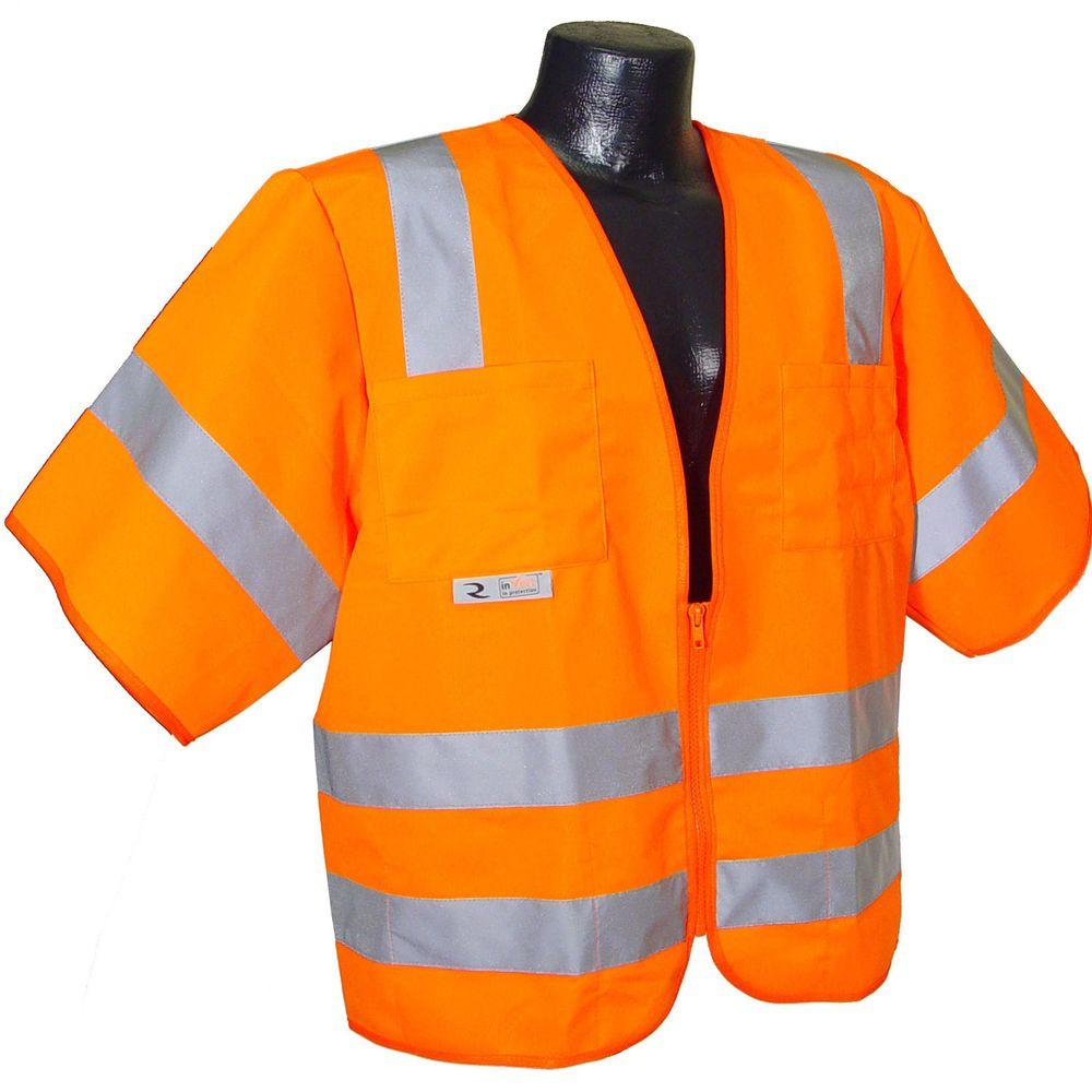 Std Class 3 4X-Large Orange Solid Safety Vest