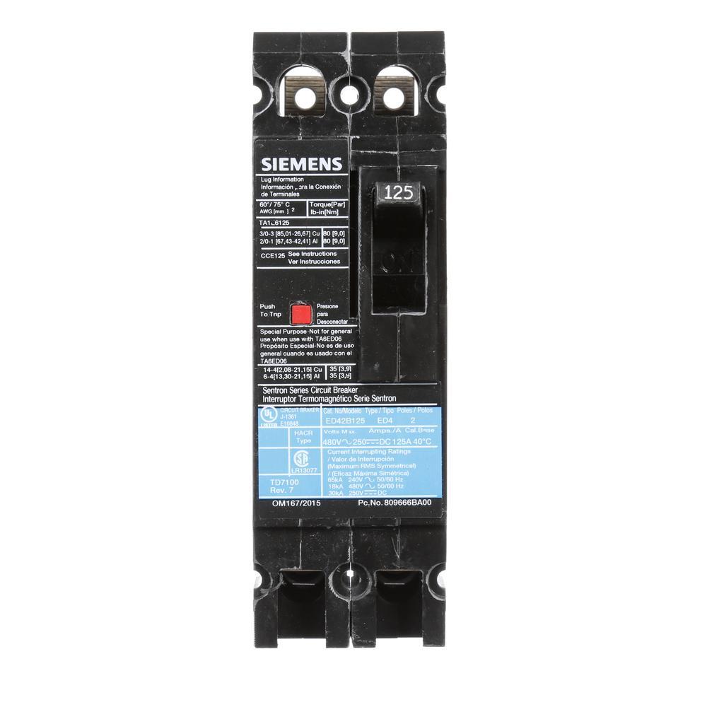 125 Amp 2-Pole Type ED 18 kA Circuit Breaker