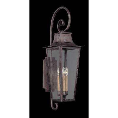 French Quarter 4-Light Aged Pewter Outdoor Wall Mount Lantern