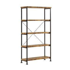 Glavan Antique Nutmeg And Black Small Wood And Metal Open Bookcase