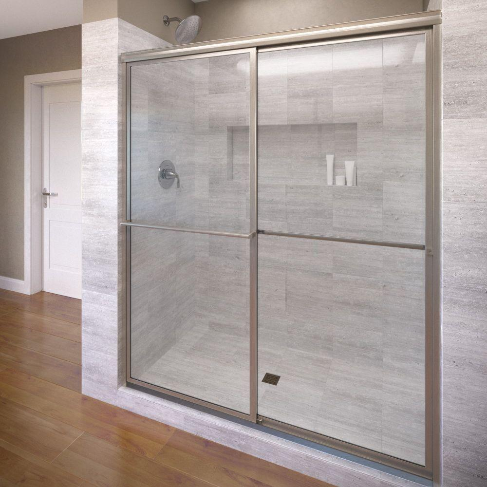 Basco Deluxe 44 in. x 68 in. Framed Sliding Shower Door in Brushed ...