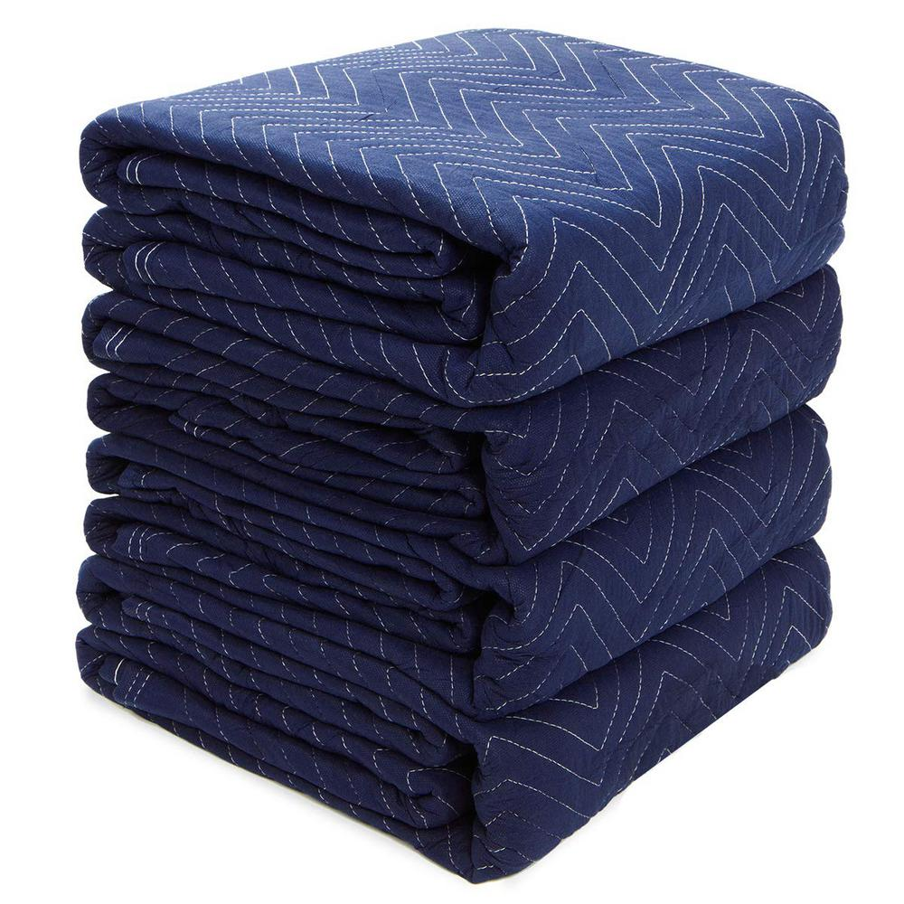 XtremepowerUS 72 in. L x 80 in. W 12 lbs. Heavy-Duty Non-Woven Padded Moving and Packing Blankets (4-Pack)